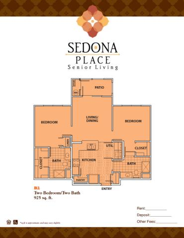925 sq. ft. B2 floor plan