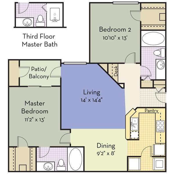 1,041 sq. ft. ALBANY floor plan