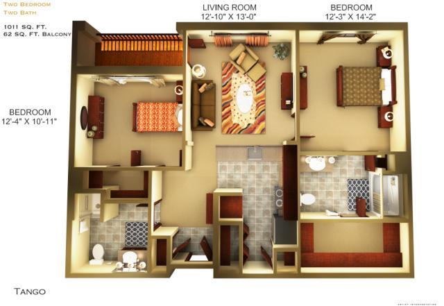 1,011 sq. ft. C1 floor plan