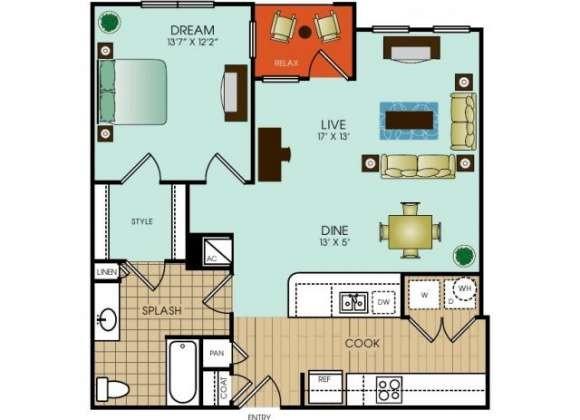 838 sq. ft. floor plan