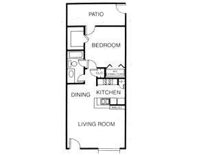 689 sq. ft. A6 floor plan