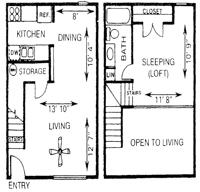 674 sq. ft. AL floor plan