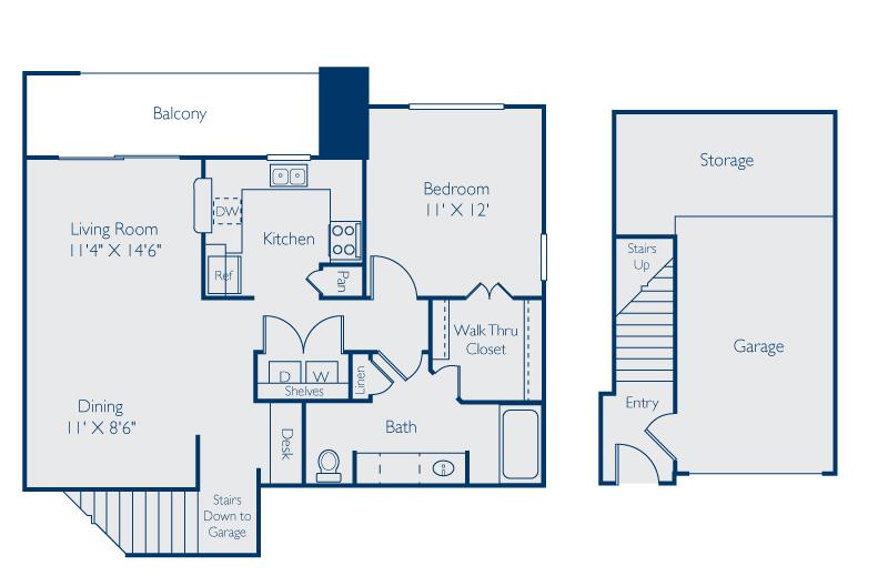 901 sq. ft. Travis w/Garage floor plan