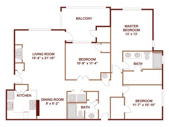 1,362 sq. ft. to 1,720 sq. ft. 32B floor plan