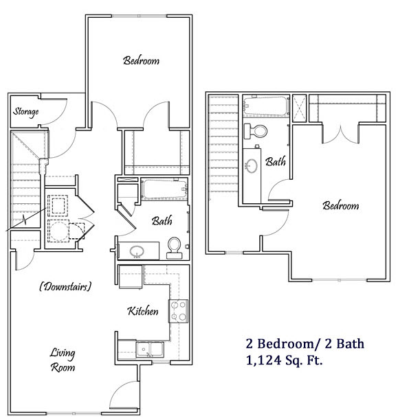1,124 sq. ft. B1/60% floor plan
