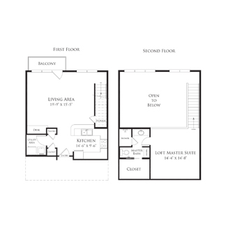 974 sq. ft. 2AS2.1 floor plan