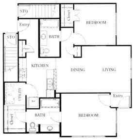 1,067 sq. ft. B3/60 floor plan