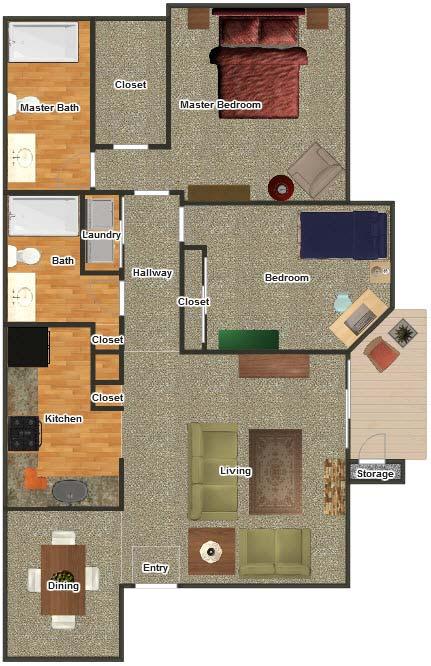 935 sq. ft. B-1 floor plan