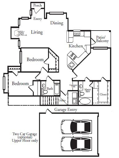 1,398 sq. ft. MIRAMAR floor plan