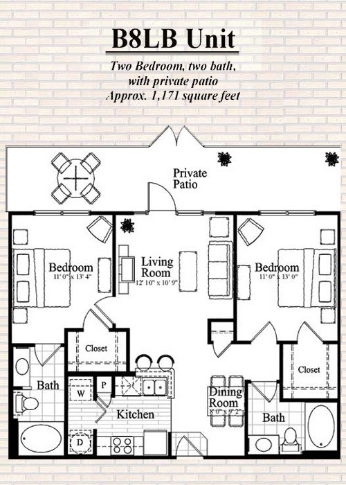 1,171 sq. ft. B8 floor plan