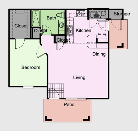 765 sq. ft. Wakefield/A4 floor plan