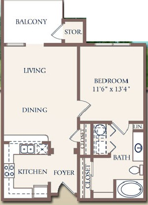 700 sq. ft. floor plan