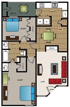 875 sq. ft. B1 floor plan