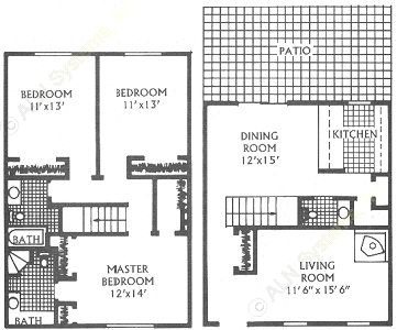 1,510 sq. ft. L floor plan