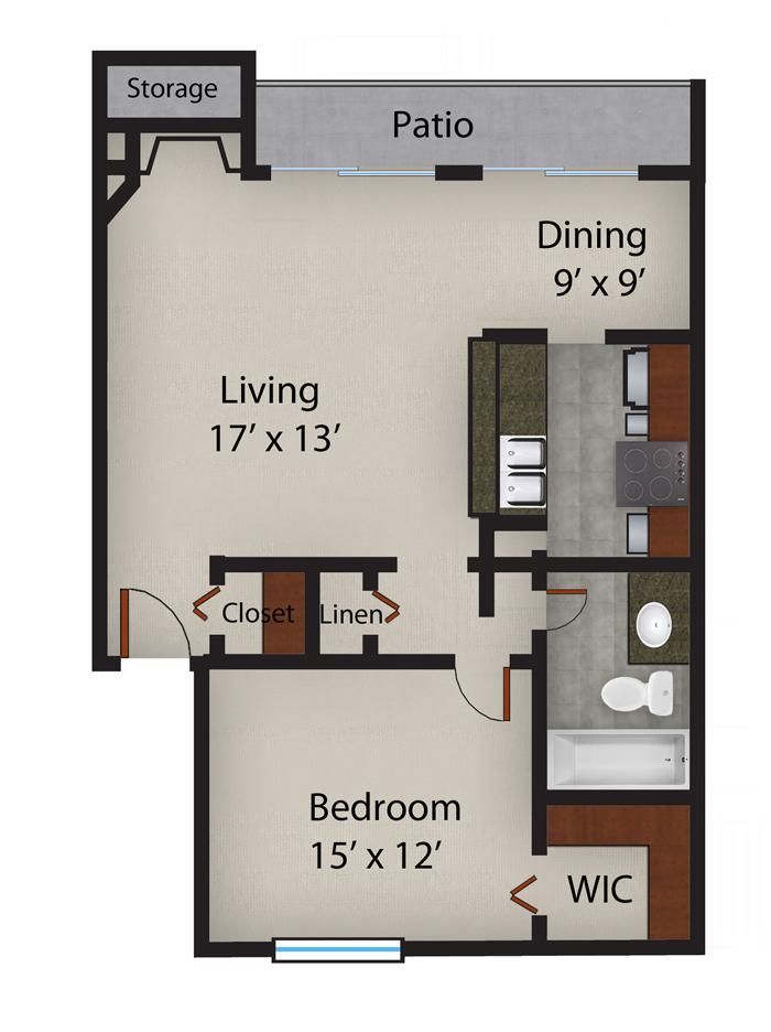 825 sq. ft. A3 floor plan