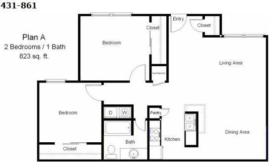 823 sq. ft. to 864 sq. ft. 40% floor plan