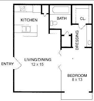 490 sq. ft. E1 floor plan