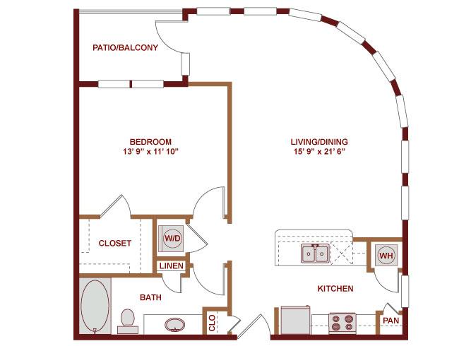 829 sq. ft. A400 floor plan