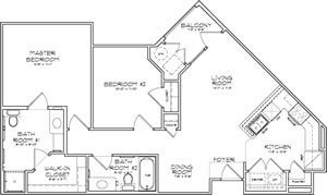 966 sq. ft. Florence 60% floor plan