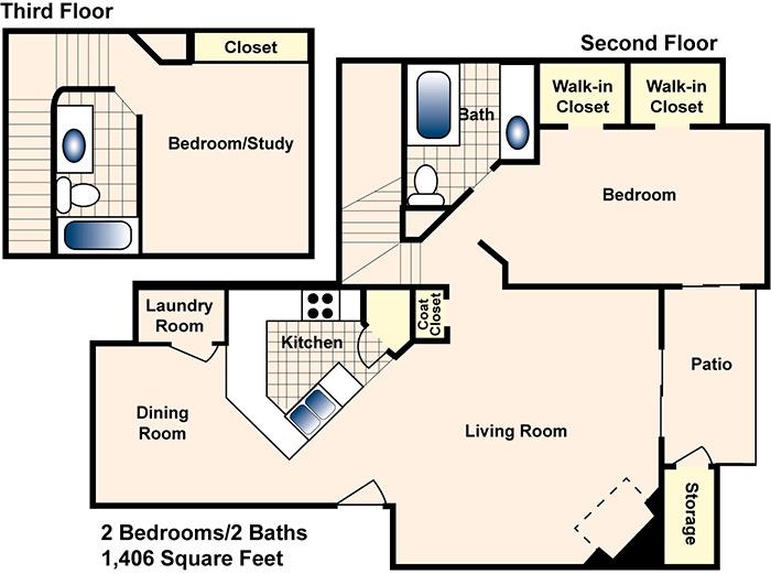 1,406 sq. ft. D floor plan