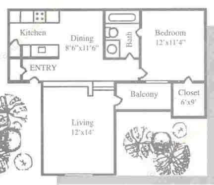 621 sq. ft. A2 floor plan