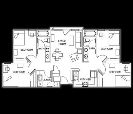 1,208 sq. ft. floor plan
