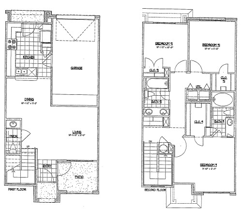 1,234 sq. ft. TH1/60% floor plan