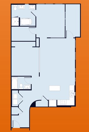 1,221 sq. ft. floor plan