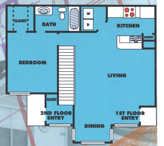 775 sq. ft. 1B/60% floor plan