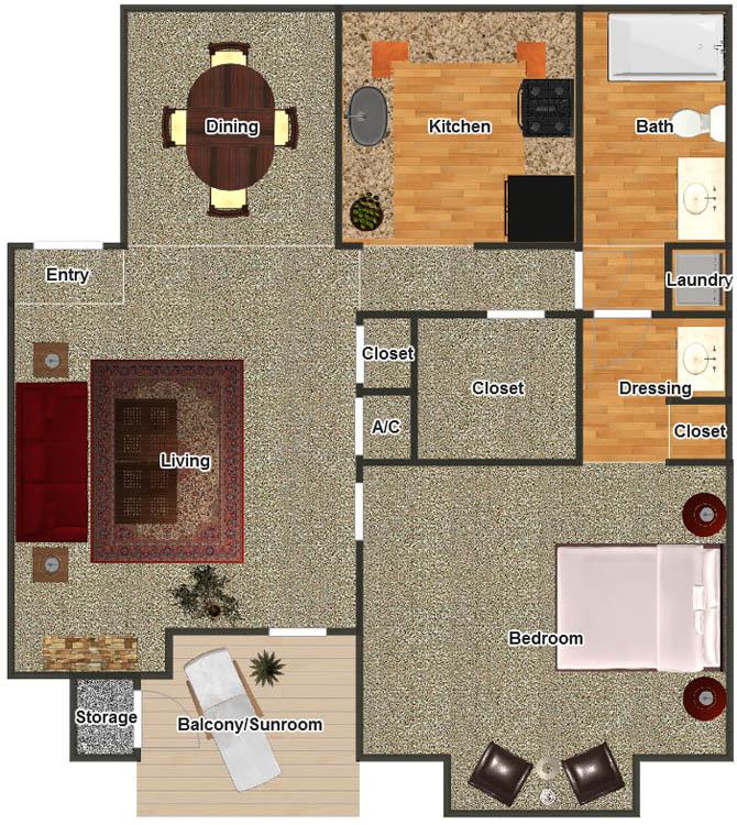 728 sq. ft. A-2G floor plan
