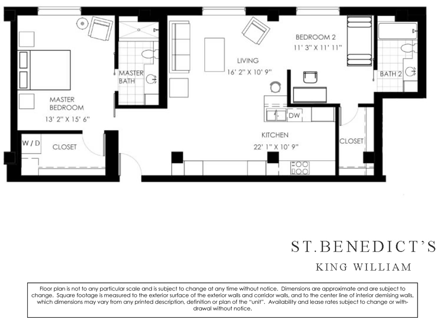 1,230 sq. ft. I floor plan