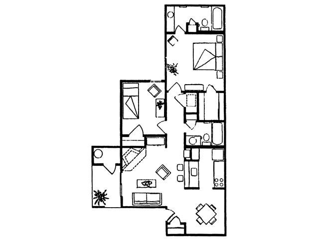 875 sq. ft. Rio floor plan