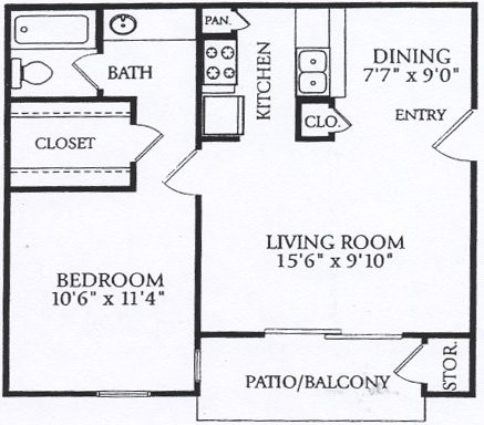 570 sq. ft. A-P2 floor plan