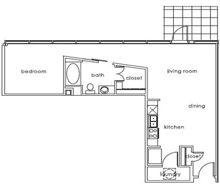 751 sq. ft. 1407 B floor plan