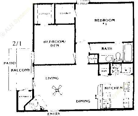 853 sq. ft. C floor plan