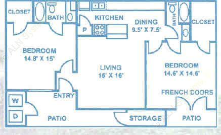 1,135 sq. ft. B4 floor plan