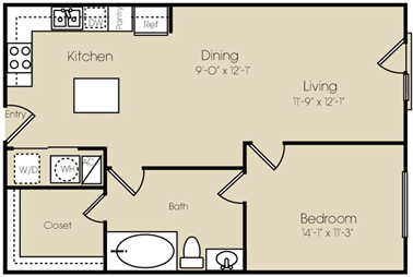 858 sq. ft. to 878 sq. ft. Union Square floor plan