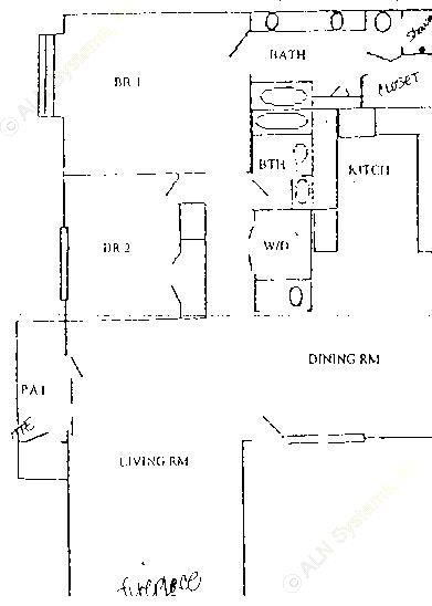 988 sq. ft. B2 Upstairs floor plan