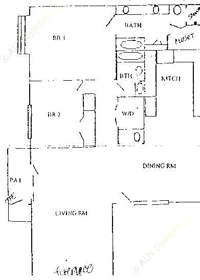 988 sq. ft. B2 Upstairs floor plan