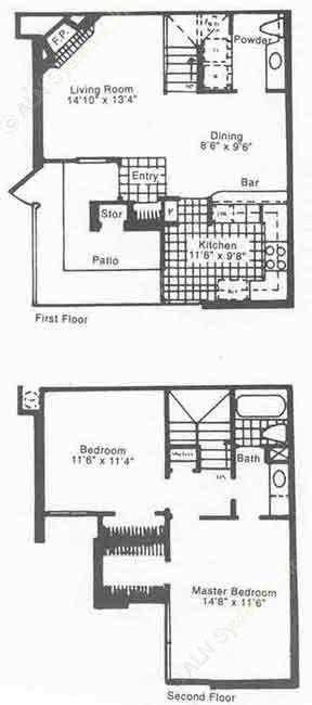 1,054 sq. ft. B1 floor plan