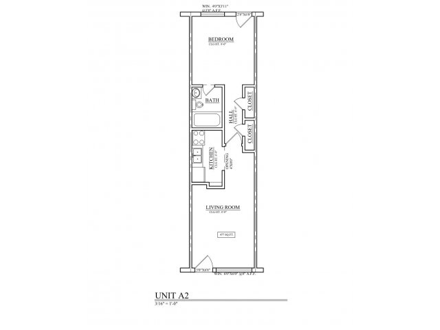 482 sq. ft. A2 floor plan