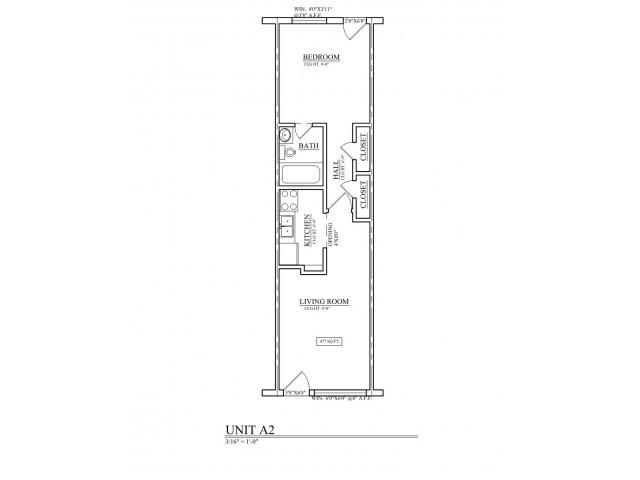 680 sq. ft. B2 floor plan