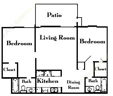 751 sq. ft. B3 floor plan