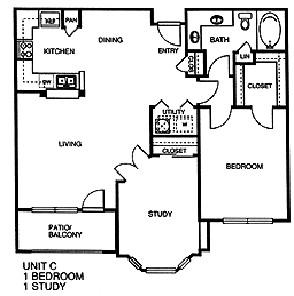 971 sq. ft. C floor plan