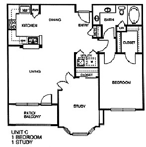 971 sq. ft. C floor plan