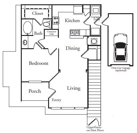 735 sq. ft. KEYWEST floor plan