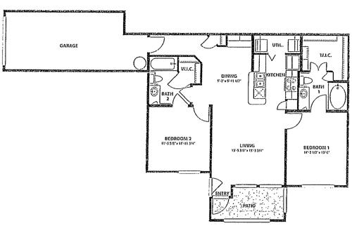 980 sq. ft. to 1,023 sq. ft. 60 floor plan