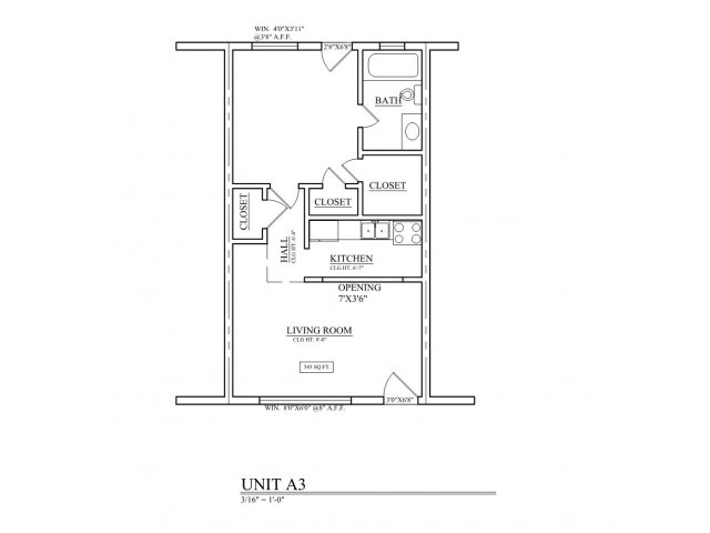 498 sq. ft. A3 floor plan