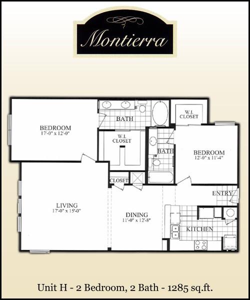 1,285 sq. ft. H floor plan