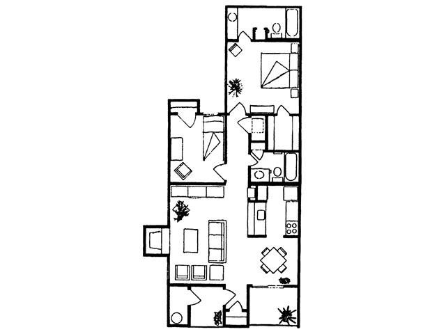 930 sq. ft. Colorado floor plan